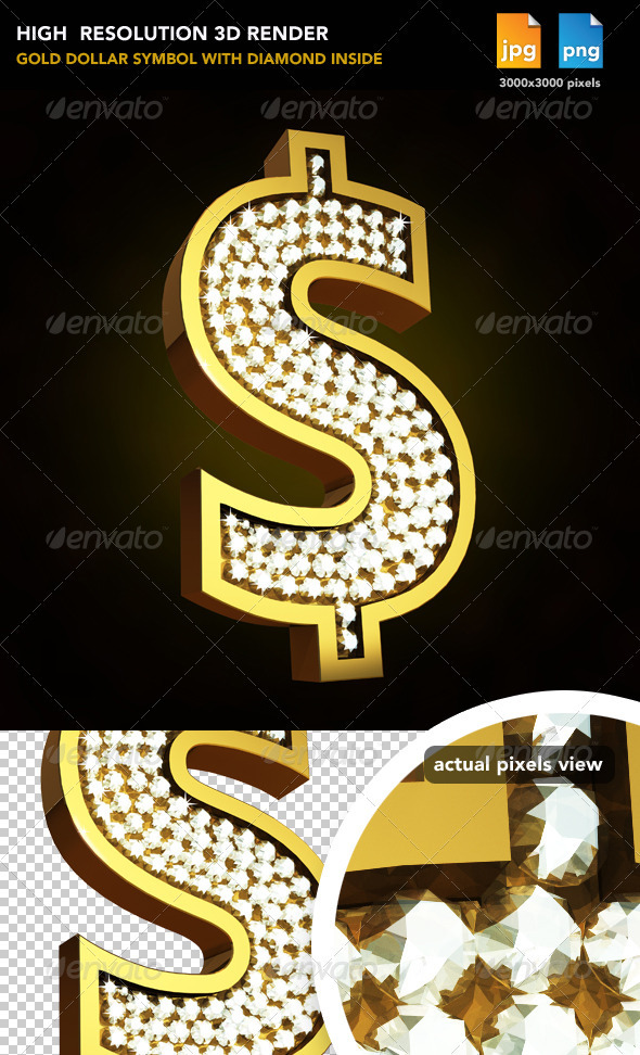 Gold Sign Dollar - Objects 3D Renders
