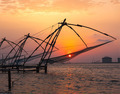 Chinese fishnets on sunset. Kochi, Kerala, India - PhotoDune Item for Sale
