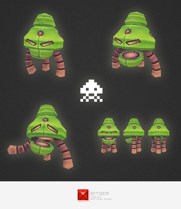 3DOcean Low Poly Space Invader Alien 01 4531031