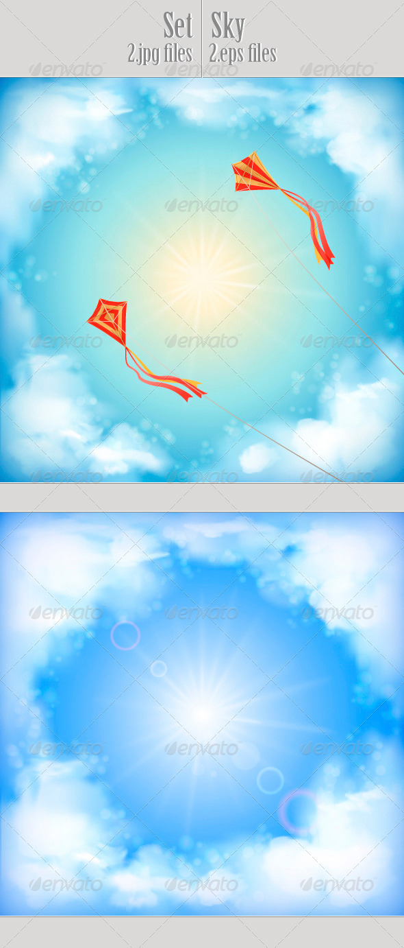 GraphicRiver Sky Vector Design White Clouds Sun Flying Kites 4532403