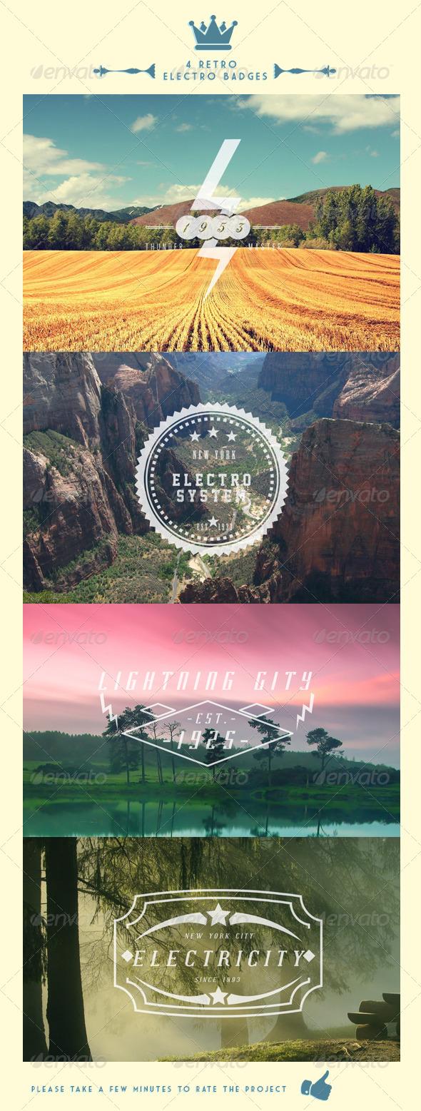 GraphicRiver 4 Retro Electro Badges 4474426