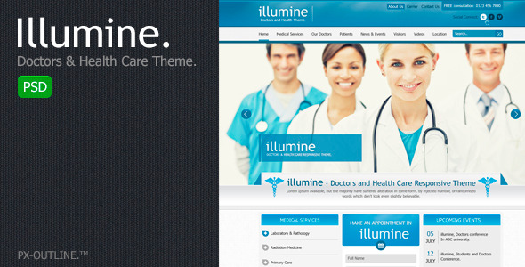 Illumine  Doctors &amp; Health Care Theme (PSD)