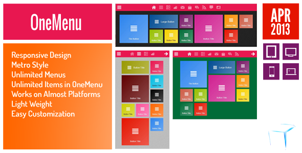 OneMenu - Responsive Metro UI Menu - CodeCanyon Item for Sale