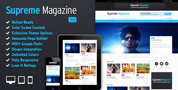 Supreme - Retina Responsive Magazine/Blog WP Theme - News / Editorial Blog / Magazine