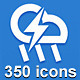350 Vector Icons - Thick Line - GraphicRiver Item for Sale