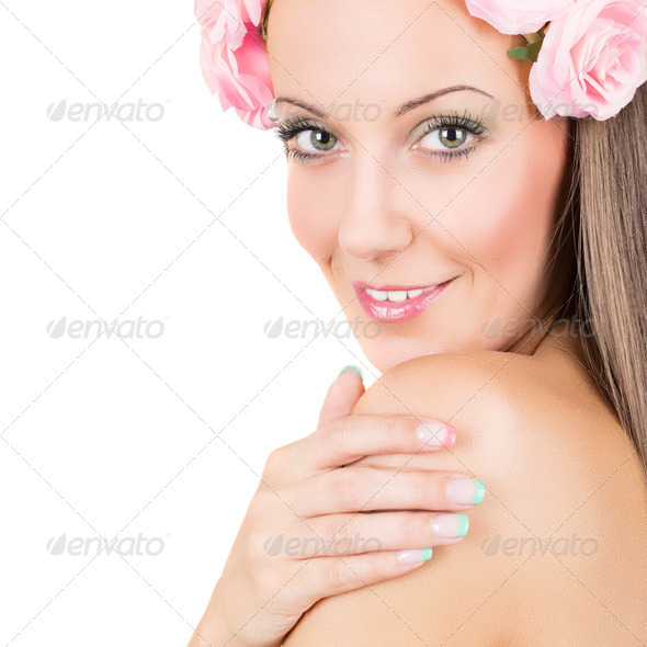 Beautiful woman with floral hair band - Stock Photo - Images