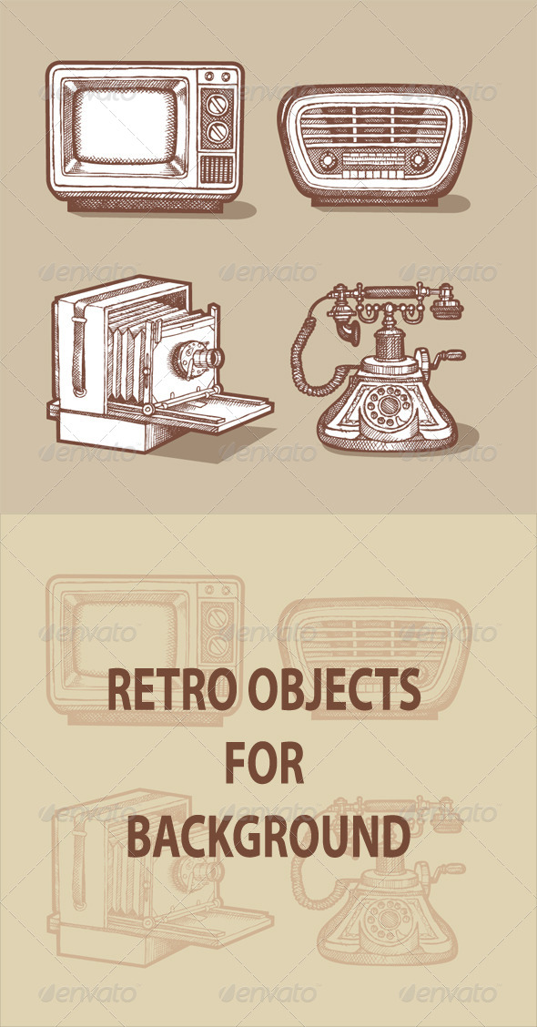 GraphicRiver Retro Objects Hand Drawing 4536241
