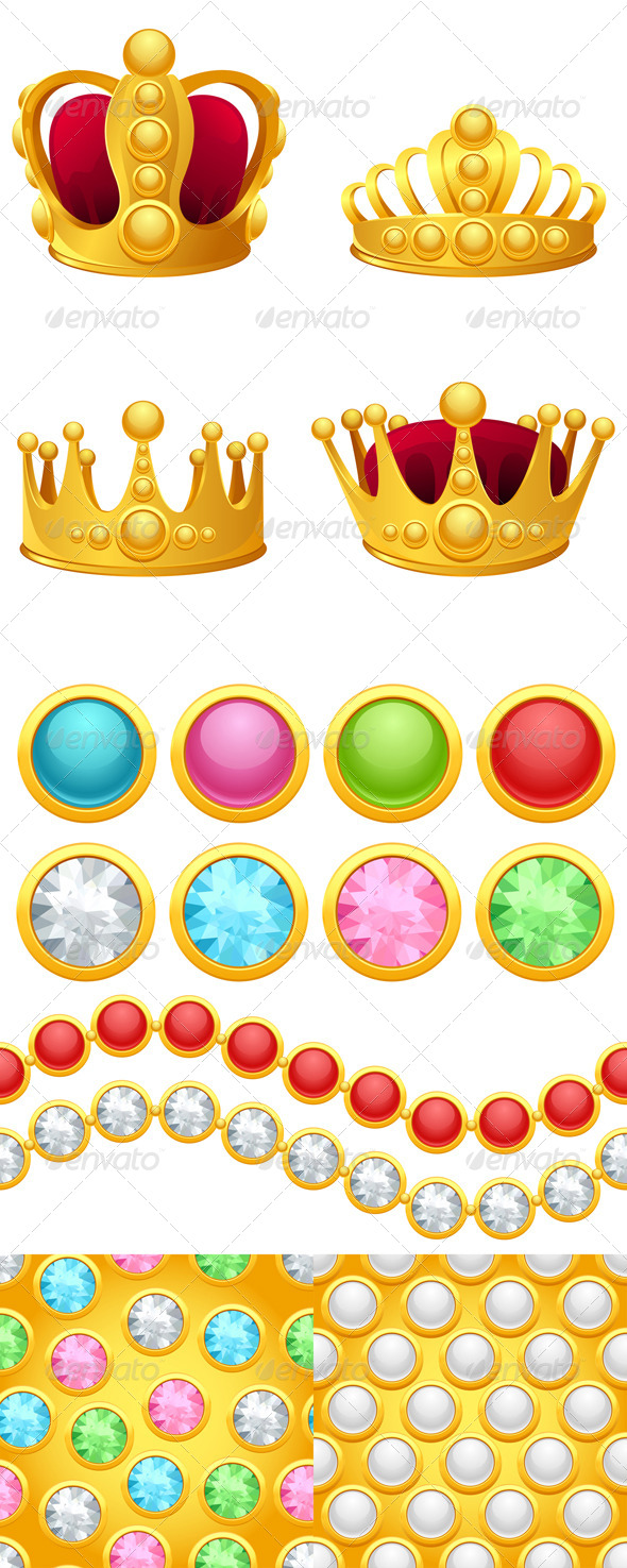 GraphicRiver Set of Gold Crowns Jewelry Buttons and Patterns 4536694