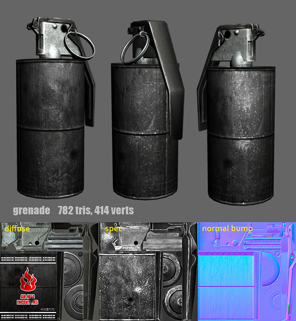 3DOcean Grenade m14 m18 Flash Fire Smoke 4537293