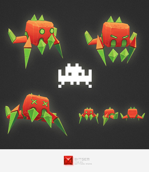3DOcean Low Poly Space Invader Alien 03 4539241