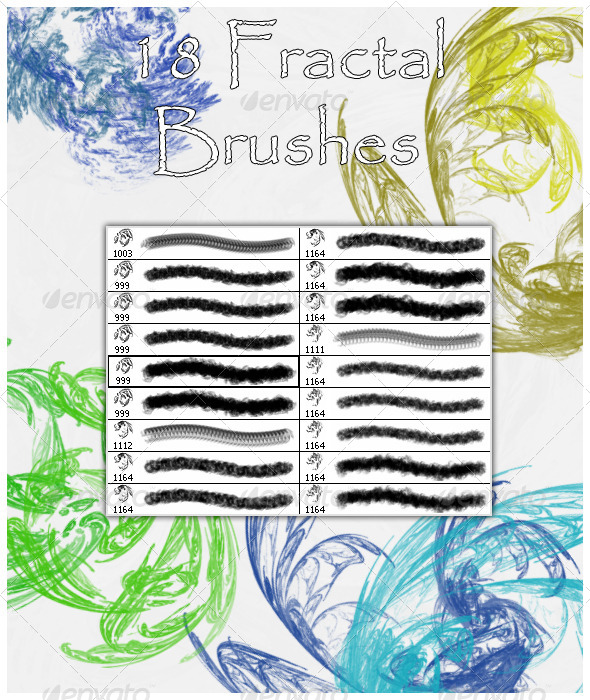 GraphicRiver 18 Fractal Brushes 4539571