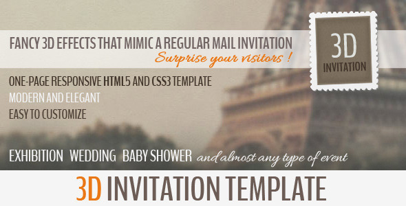 ThemeForest 3D Invitation Multipurpose Invitation Template 4533713