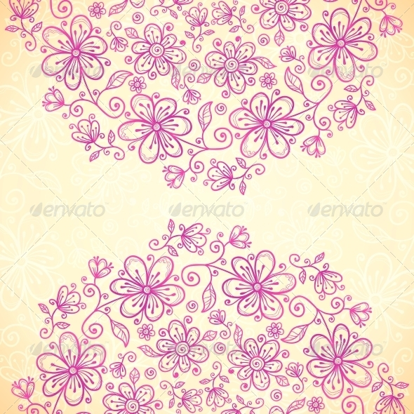 GraphicRiver Pink Doodle Vintage Flowers Circles Background 4543289