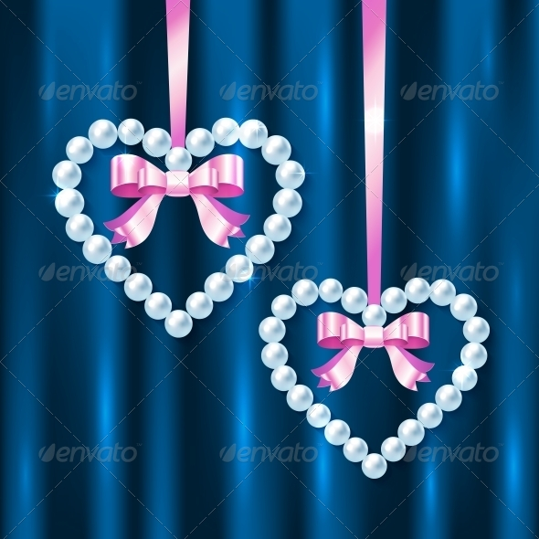 GraphicRiver Pearl Hearts with Pink Ribbons and Bows 4543348