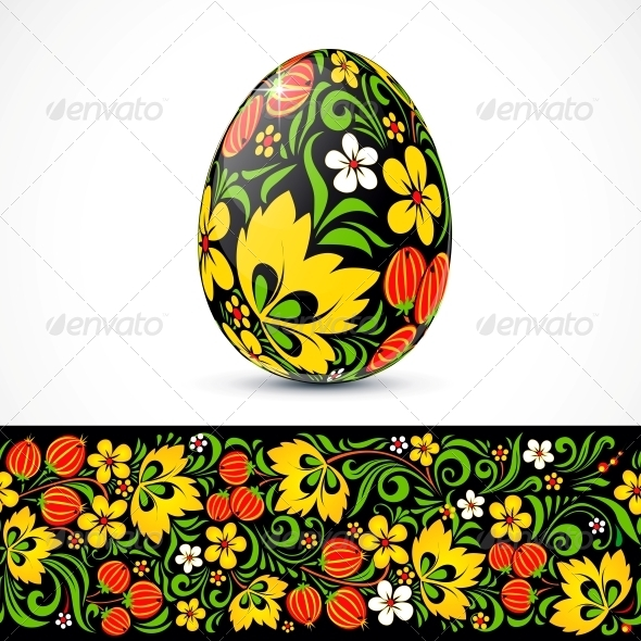 GraphicRiver Traditional Ornate Easter Eggs Sticker Design 4543389