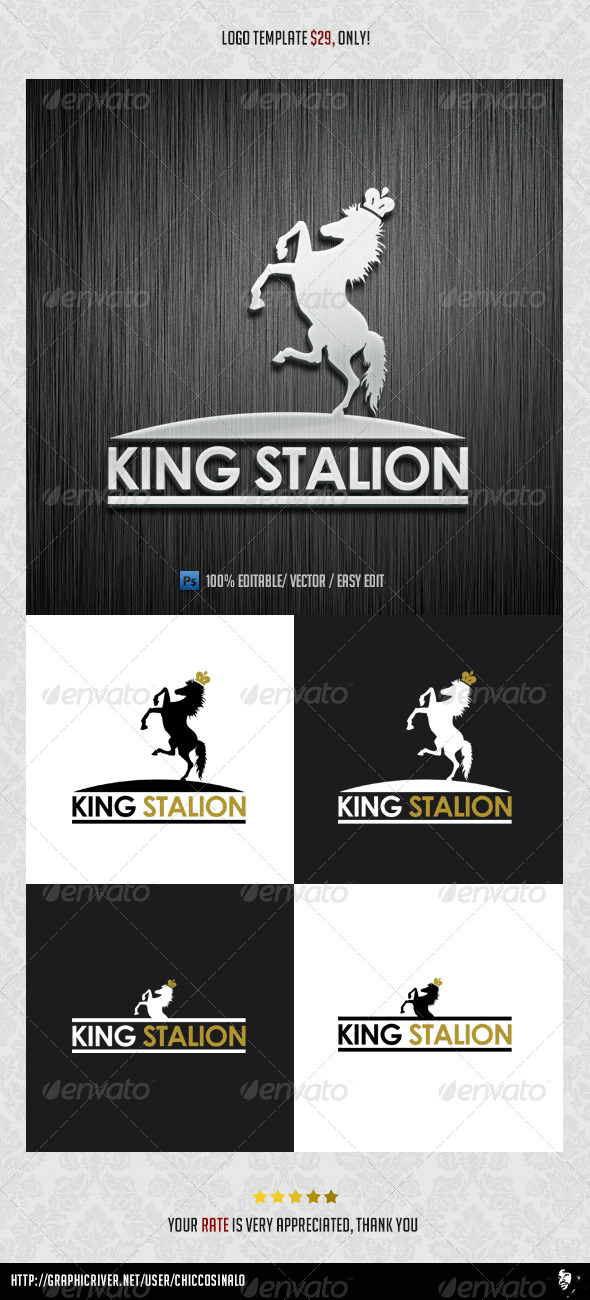 GraphicRiver King Stallion King Logo Template 4544613