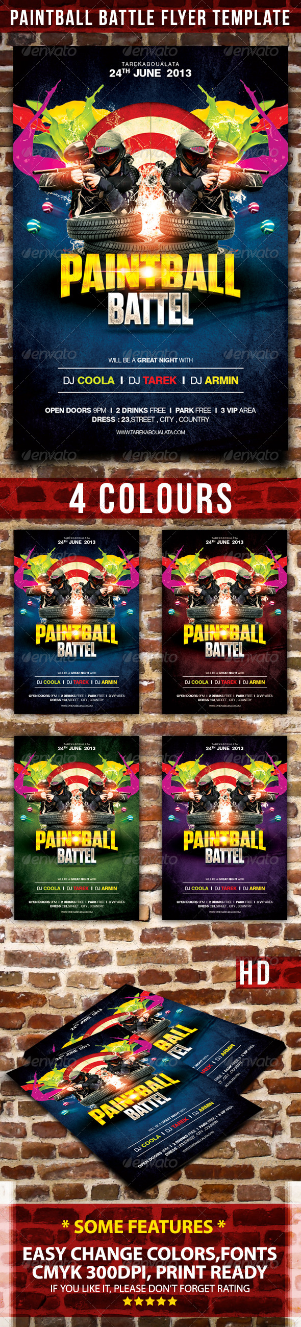 GraphicRiver Paintball Battle Flyer Template 4467627