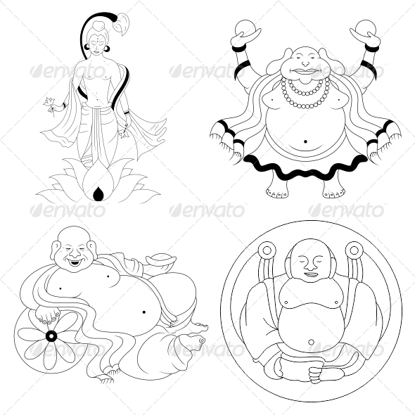 GraphicRiver Buddha Religious Vector Designs Pack 4544626
