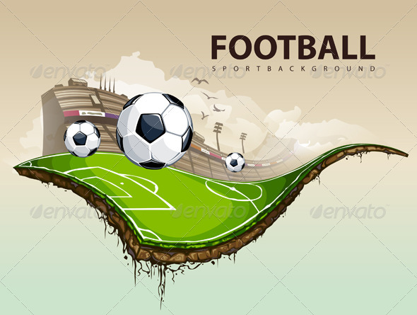 Vector illustration of surreal soccer field - Vectors