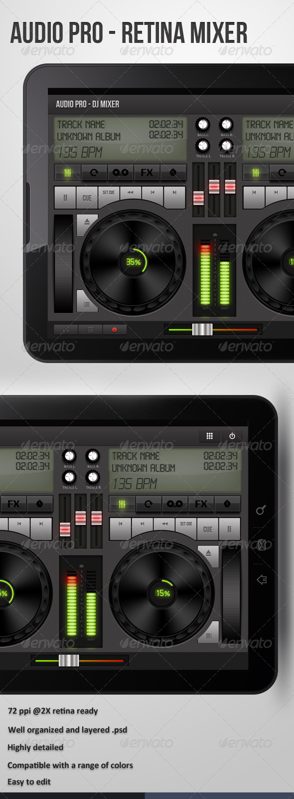 Dj Mixer Ui For Retina - Audio - User Interfaces Web Elements