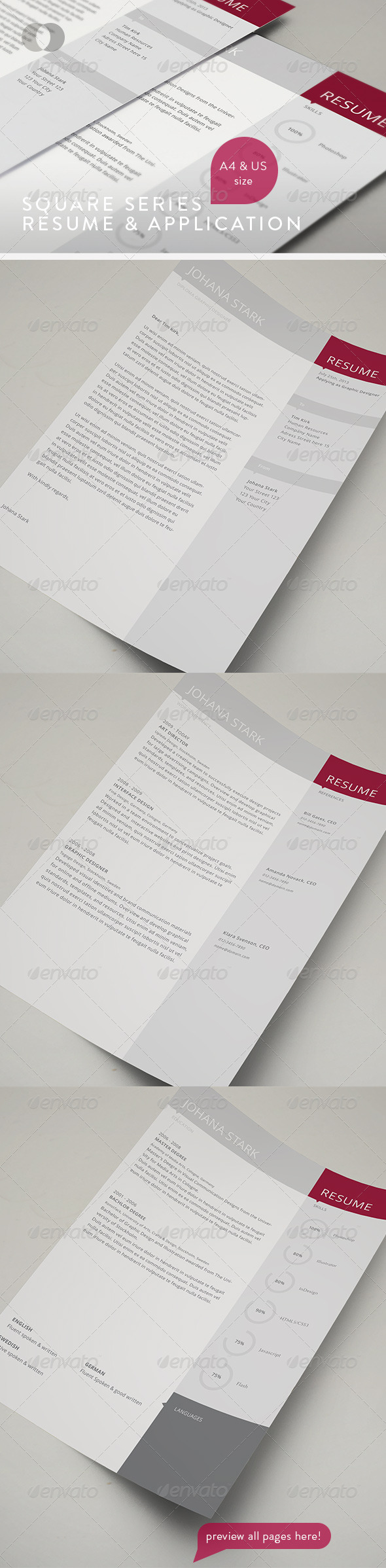 Resume - Square Series - Resumes Stationery