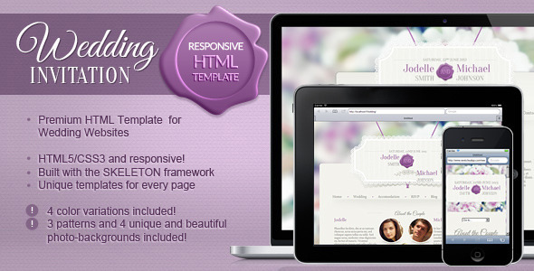 ThemeForest Wedding Invitation a Responsive Wedding Template 4547619