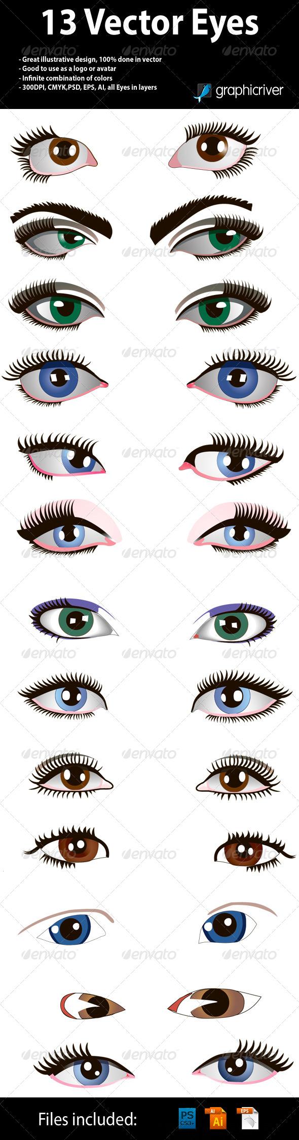 GraphicRiver 13 Vector Eyes 4495887