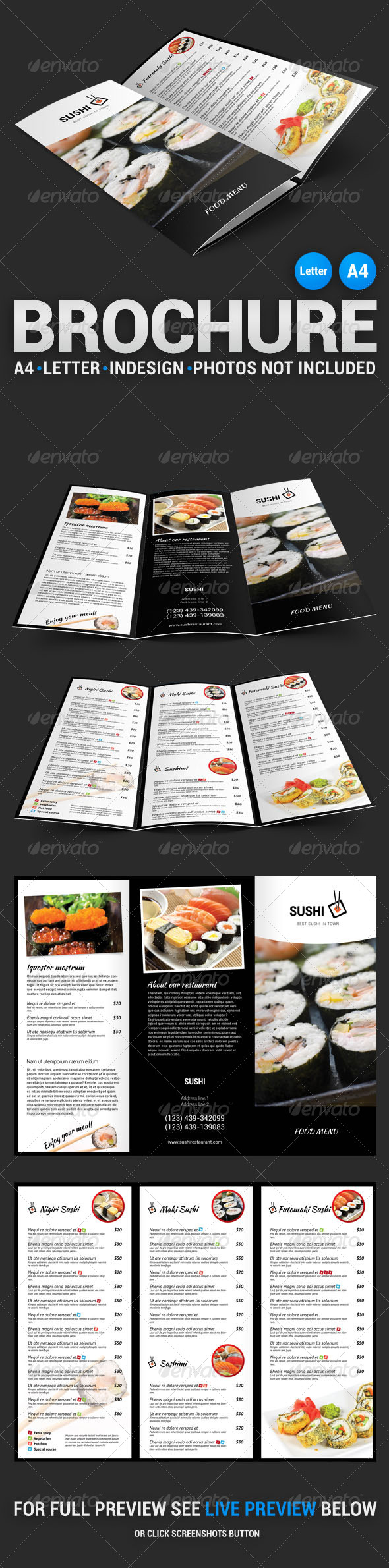 GraphicRiver Sushi Menu Tri-Fold Brochure 4549114