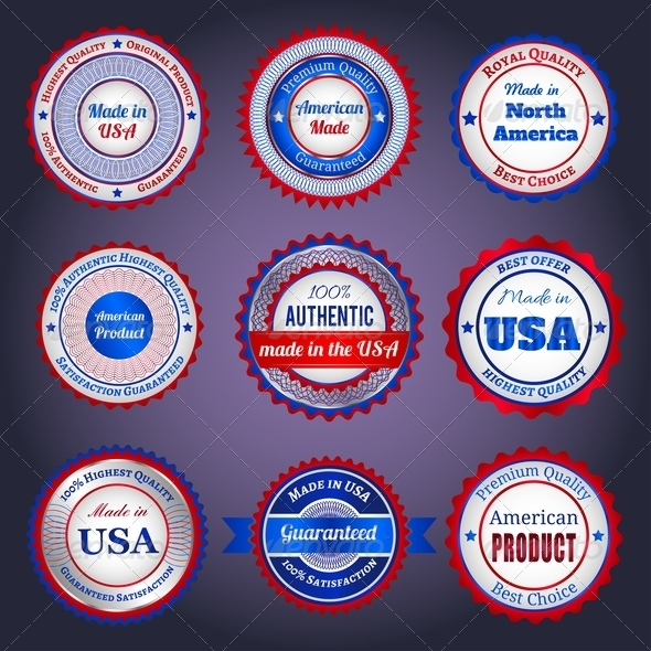 GraphicRiver Labels and Stickers on Made in the USA 4549173