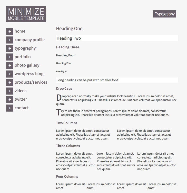 Minimize | Tablet & Mobile Responsive Template
