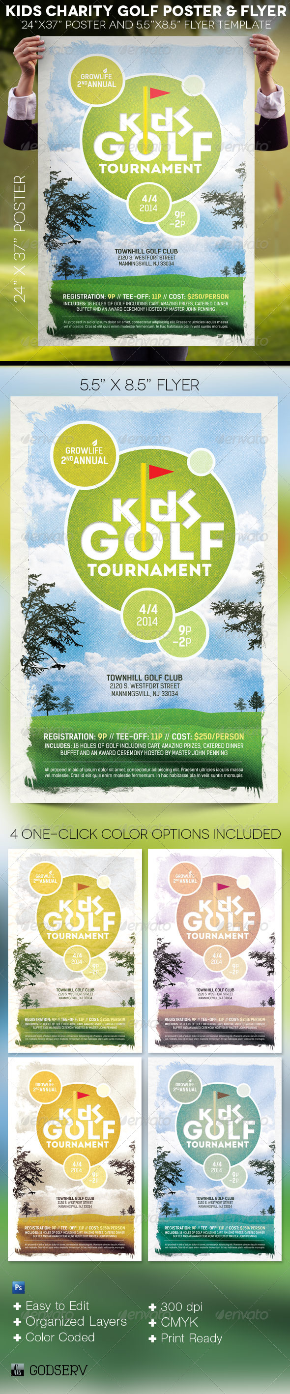 Kids Charity Golf Poster and Flyer Template - Events Flyers