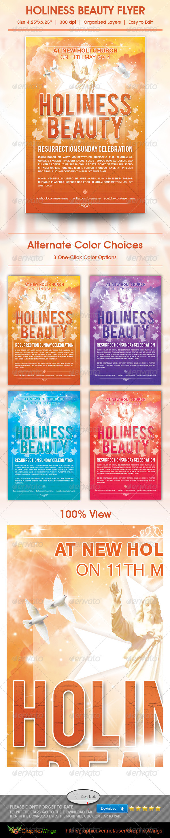 GraphicRiver Holiness Beauty Church Flyer Template 4552592