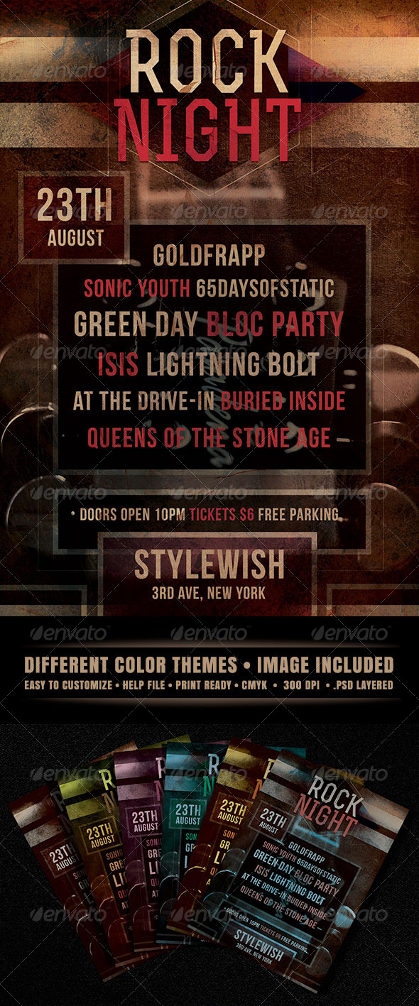 GraphicRiver Rock Night Flyer 4465521