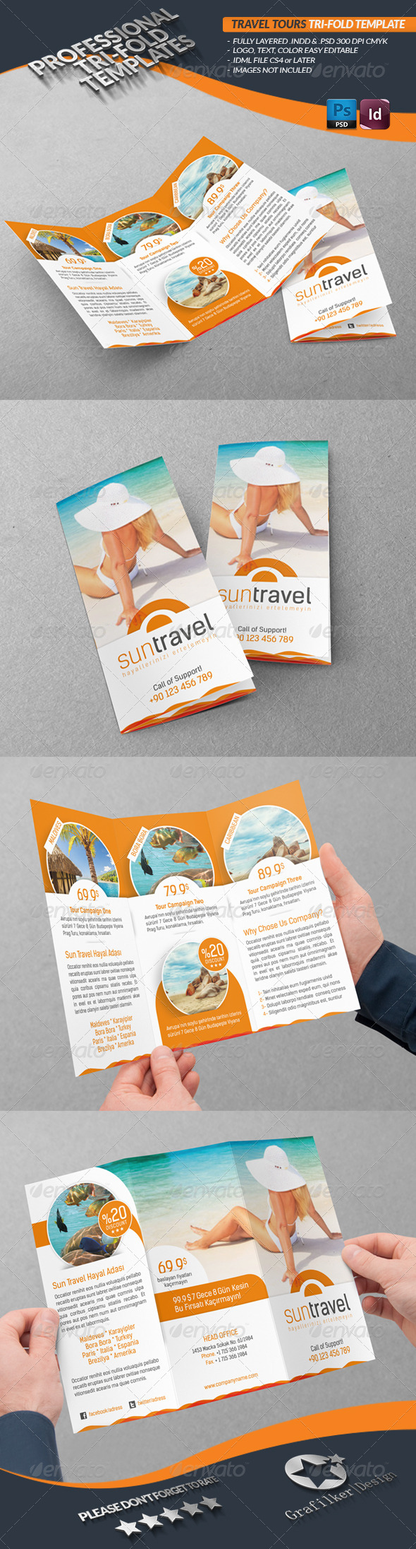Travel Tours Tri-Fold Template - Brochures Print Templates