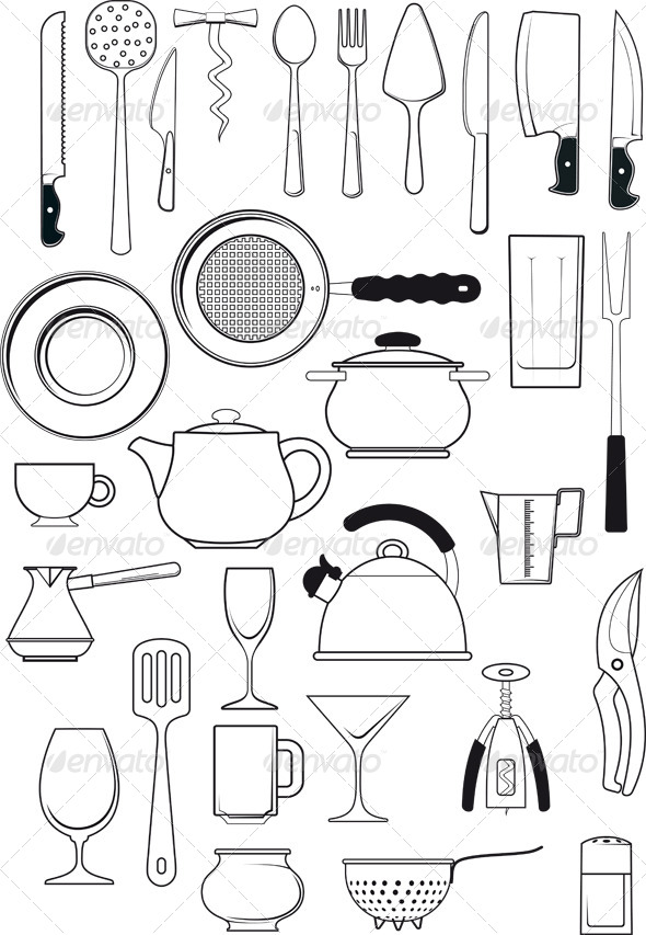 Set of Kitchen Utensils - Web Elements Vectors