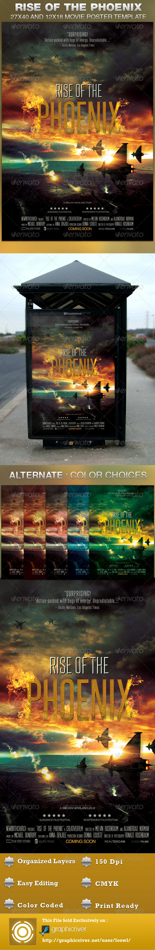 GraphicRiver Rise of the Phoenix Movie Poster Template 4557348