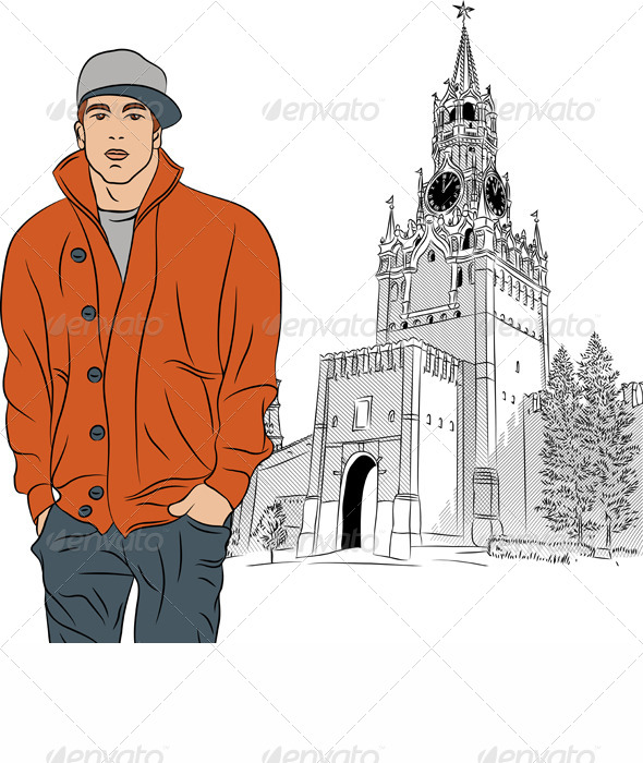 GraphicRiver Vector Sketch of the Stylish Guy in Moscow 4559042