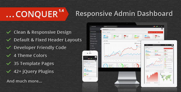 Conquer - Responsive Admin Dashboard Template - Admin Templates Site Templates