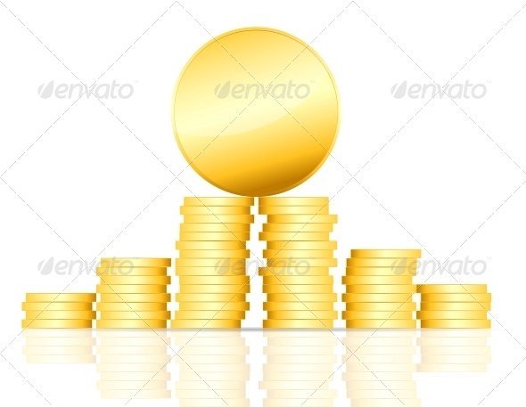 GraphicRiver Gold Coin Vector Illustration on White 4559250
