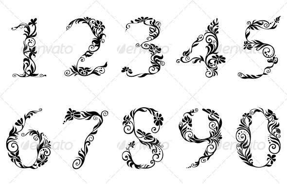 Digits and Numbers Set with Floral Details - Decorative Symbols Decorative