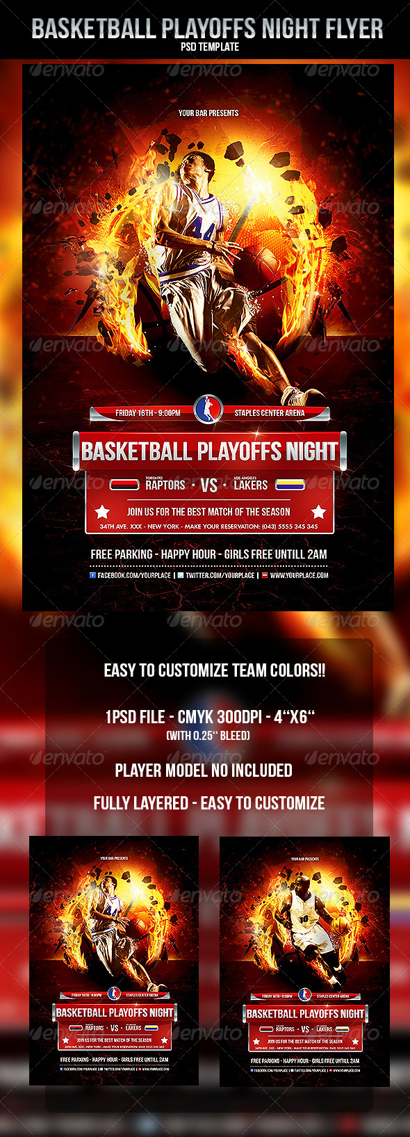 GraphicRiver Basketball Playoffs Night Flyer Template 4559807
