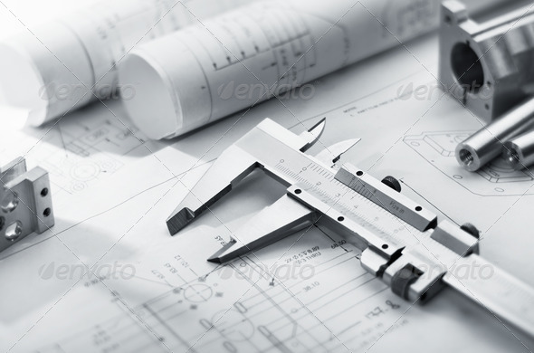 caliper on blueprint - Stock Photo - Images