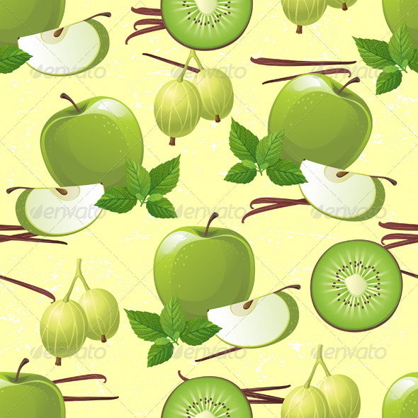 GraphicRiver Green Fruits Seamless 4563412