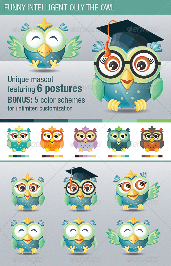 GraphicRiver Funny Intelligent Olly the Owl 4564622