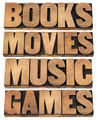 books, movies, music and games - PhotoDune Item for Sale