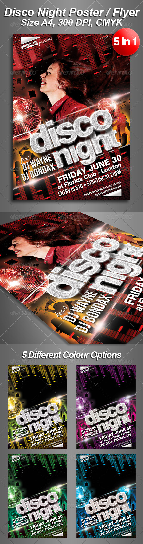 GraphicRiver A4 5in1 Disco Night Club Flyer 4491223