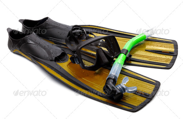 Mask, snorkel and flippers with water drops. Diving gear on whit - Stock Photo - Images