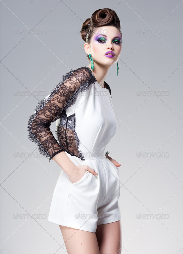 beautiful woman dressed elegant posing glamorous - studio fashion shot - Stock Photo - Images