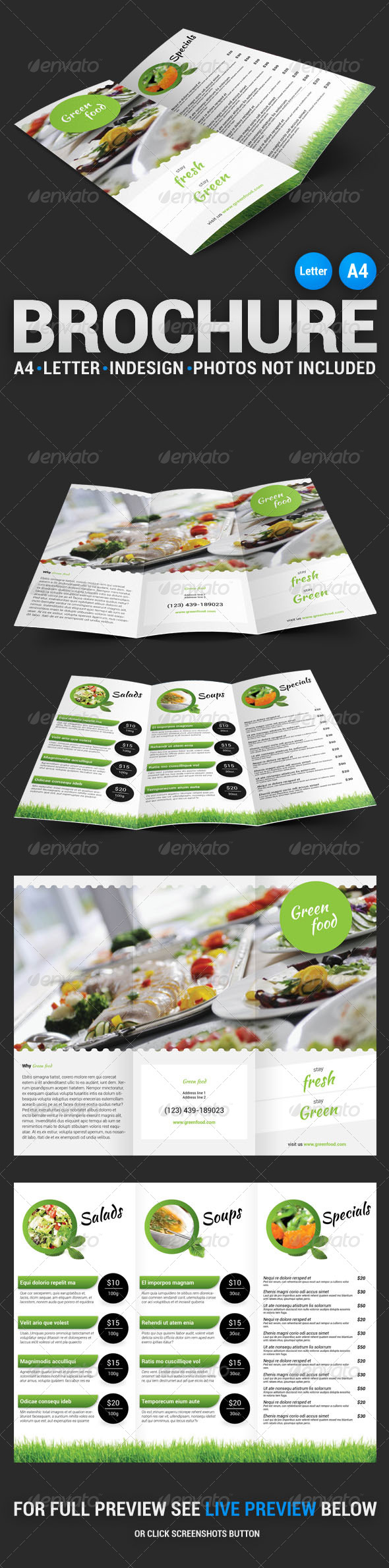 Green Food Tri-Fold Brochure - Food Menus Print Templates