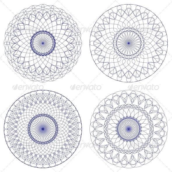 GraphicRiver Set of Vector Guilloche Rosettes 4569109